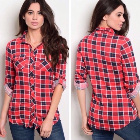 Tops - Red Plaid Button Down